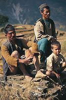 The hard life which these hill farmers lead can be seen etched in their faces. They live in the foothills of the Himalayas near Pangtang in central northern Nepal and their farms are a series of tiny terraces clinging to the steep slopes.