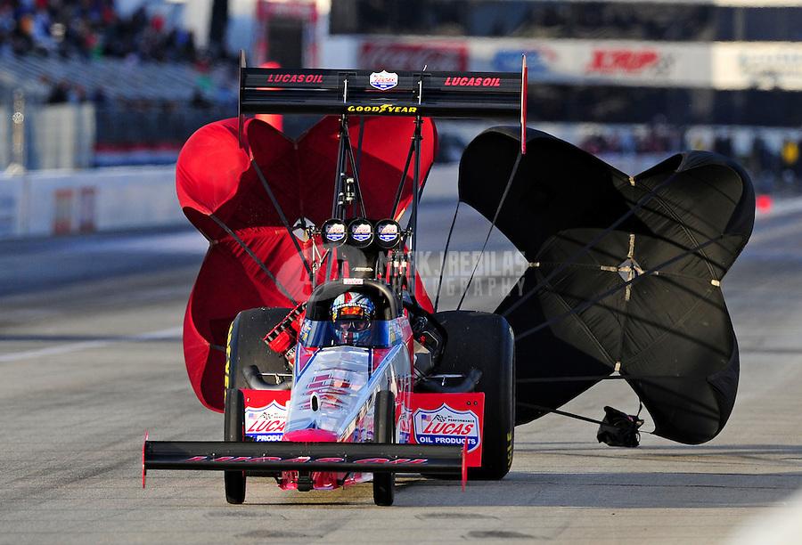Feb. 26, 2011; Pomona, CA, USA; NHRA top fuel dragster driver Shawn Langdon during qualifying for the Winternationals at Auto Club Raceway at Pomona. Mandatory Credit: Mark J. Rebilas-