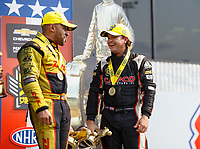 Sep 4, 2017; Clermont, IN, USA; NHRA top fuel driver Steve Torrence (right) celebrates with funny car driver J.R. Todd after winning the US Nationals at Lucas Oil Raceway. Mandatory Credit: Mark J. Rebilas-USA TODAY Sports