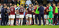 Burnley manager Sean Dyche issues instructions to his players after the full time whistle<br /> <br /> Photographer Alex Dodd/CameraSport<br /> <br /> UEFA Europa League - Third Qualifying Round 2nd Leg - Burnley v Istanbul Basaksehir - Thursday 16th August 2018 - Turf Moor - Burnley<br />  <br /> World Copyright © 2018 CameraSport. All rights reserved. 43 Linden Ave. Countesthorpe. Leicester. England. LE8 5PG - Tel: +44 (0) 116 277 4147 - admin@camerasport.com - www.camerasport.com