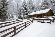 Ranger Headquarters at Lincoln Woods Trailhead in Lincoln, New Hampshire USA during the winter months