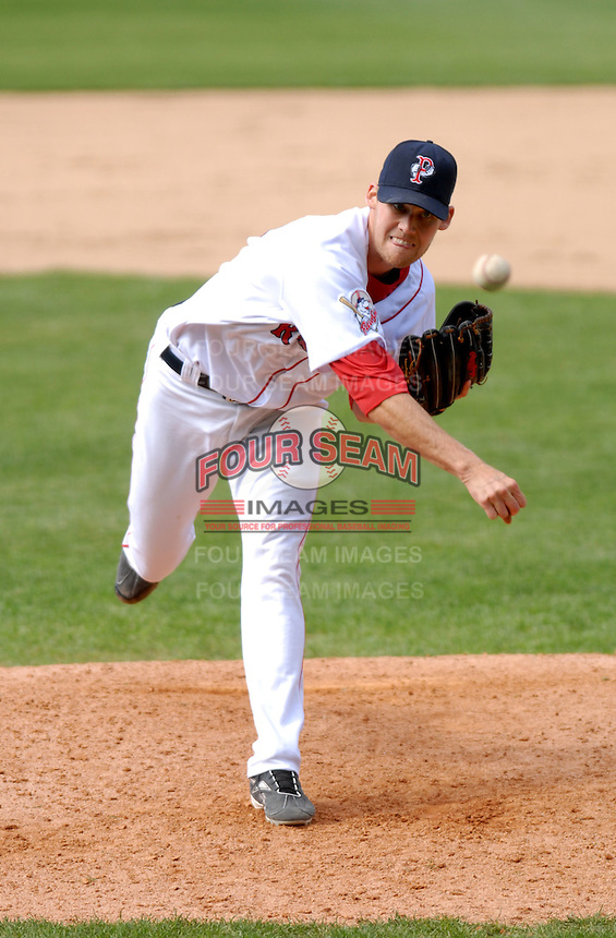 RHP Daniel Bard of the Pawtucket Red Sox, the AAA International League affiliate of the Boston Red Sox, at McCoy Stadium in Pawtucket, RI 5-2-09(Photo by Ken Babbitt/Four Seam Images)