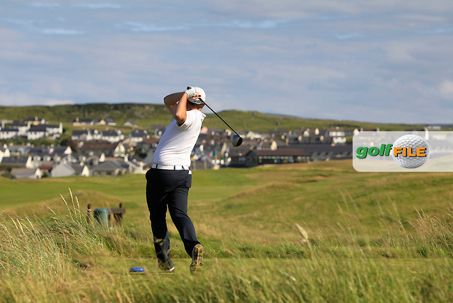 Alan Lowry (Esker Hills) on the 18th tee during Round 2 of the South of Ireland Amateur Open Championship at LaHinch Golf Club on Thursday 23rd July 2015.<br /> Picture:  Golffile   Thos Caffrey