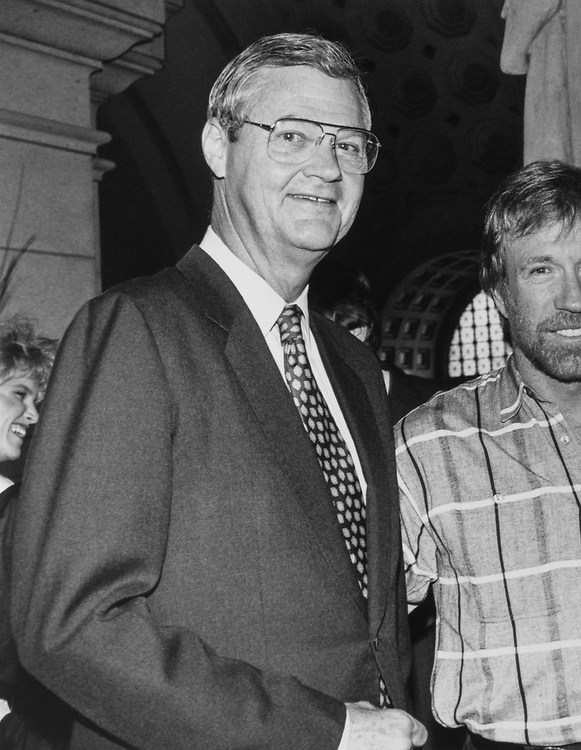 "Rep. Ike Skelton, D-Mo., and his family went to see Chuck Norris in ""Delta II"". (Photo by Laura Patterson/CQ Roll Call via Getty Images)"