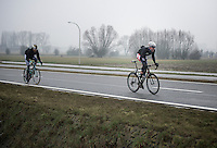 Dwars Door Vlaanderen 2013.Maarten Neyens (BEL) trying to break free