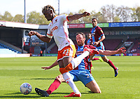 Blackpool's Armand Gnanduillet evades the challenge from Scunthorpe United's Rory McArdleror<br /> <br /> Photographer David Shipman/CameraSport<br /> <br /> The EFL Sky Bet League One - Scunthorpe United v Blackpool - Friday 19th April 2019 - Glanford Park - Scunthorpe<br /> <br /> World Copyright © 2019 CameraSport. All rights reserved. 43 Linden Ave. Countesthorpe. Leicester. England. LE8 5PG - Tel: +44 (0) 116 277 4147 - admin@camerasport.com - www.camerasport.com