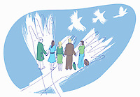 White doves flying from business people and healthcare workers holding hands