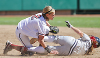 STANFORD, CA - April 3, 2011:  Jenna Rich tags out an Arizona runner stealing second during Stanford's 2-0 loss to Arizona at Stanford, California on April 3, 2011.