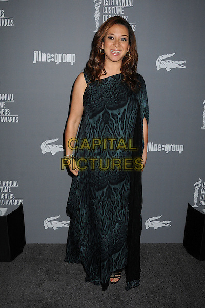 Maya Rudolph.15th Annual Costume Designers Guild Awards held at the Beverly Hilton Hotel, Beverly Hills, California, USA..February 19th, 2013.full length dress black green leopard print.CAP/ADM/BP.©Byron Purvis/AdMedia/Capital Pictures.