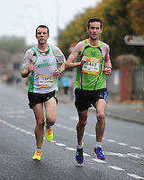 26/10/2015; 2015 SSE Airtricity Dublin Marathon, St Laurence's Road, Dublin. <br /> Louis McCarthy of Rathfarnham AC ahead of Mike O'Brien of West Limerick AC.<br /> Picture credit: Tommy Grealy/actionshots.ie.