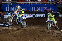 Cooper Webb (Yamaha) takes first, Chad Reed (Yahama) second and Lawson Bopping (Yamaha) third in the SX1 final.<br />  AUS-X Open<br /> Sydney NSW Sunday 29 November 2015<br /> &copy; Sport the library / Courtney Crow