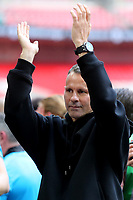 Ryan Giggs applauds the Salford City fans as they celebrate promotion to the Football League during AFC Fylde vs Salford City, Vanarama National League Football Promotion Final at Wembley Stadium on 11th May 2019