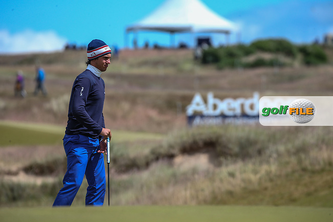 Matteo Manassero (ITA) during Round Two of the 2016 Aberdeen Asset Management Scottish Open, played at Castle Stuart Golf Club, Inverness, Scotland. 08/07/2016. Picture: David Lloyd | Golffile.<br /> <br /> All photos usage must carry mandatory copyright credit (&copy; Golffile | David Lloyd)