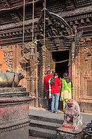 Nepal, Patan.  Entrance to Kumbeshwar temple, built 1392.  The temple was damaged in the April 2015 earthquake but can be repaired.
