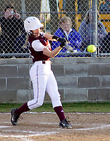Westside Eagle Observer/RANDY MOLL<br /> Gentry's Liberty Brannon takes a cut at a pitch during play against Har-Ber at Getry High School on Thursday.