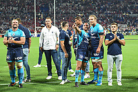 Aaron Cruden and Jarrad Hoeata of Montpellier celebrates the Victory during the Top 14 semi final match between Montpellier Herault Rugby and Lyon on May 25, 2018 in Lyon, France. (Photo by Alexandre Dimou/Icon Sport)