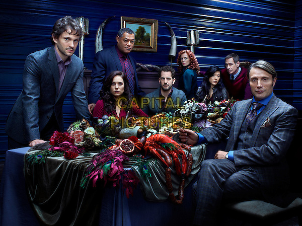 Hugh Dancy, Caroline Dhavernas, Laurence Fishburne, Aaron Abrams, Lara Jean Chorostecki, Hettienne Park, Scott Thompson, Mads Mikkelsen<br /> in Hannibal (2013)<br /> *Filmstill - Editorial Use Only*<br /> CAP/NFS<br /> Image supplied by Capital Pictures