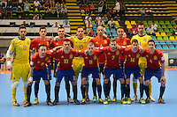 MEDELLIN - COLOMBIA- 21-09-2016: Jugadores de España posan para una foto previo al partido con Kazajistán de octavos de final de la Copa Mundial de Futsal de la FIFA Colombia 2016 jugado en el Coliseo Ivan de Bedout en Medellín, Colombia. /  Players of Spain pose to a photo prior the match against Kazakhstan of  knockout stages of the FIFA Futsal World Cup Colombia 2016 played at Ivan de Bedout coliseum in Medellin, Colombia. Photo: VizzorImage / Leon Monsalve /