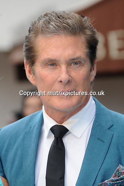 NON EXCLUSIVE PICTURE: PAUL TREADWAY / MATRIXPICTURES.CO.UK<br /> PLEASE CREDIT ALL USES<br /> <br /> WORLD RIGHTS<br /> <br /> American actor David Hasselhoff attending the European Premiere of Entourage at Vue West End, in London.<br /> <br /> JUNE 9th 2015<br /> <br /> REF: PTY 151850