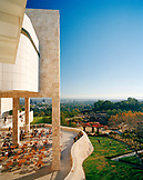USA, California, Brentwood, Los Angeles, view of the Getty Museum under a blue sky