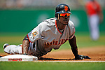 8 June 2008: San Francisco Giants' left fielder Fred Lewis dives safely back to first during a game against the Washington Nationals at Nationals Park in Washington, DC. The Giants rallied to defeat the Nationals 6-3 in their third consecutive win of the 4-game series...Mandatory Photo Credit: Ed Wolfstein Photo