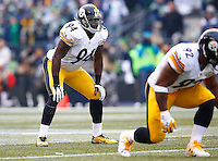 Lawrence Timmons #94 of the Pittsburgh Steelers in action against the Seattle Seahawks during the game at CenturyLink Field on November 29, 2015 in Seattle, Washington. (Photo by Jared Wickerham/DKPittsburghSports)