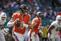 MIAMI, FL, 14.10.2018 – MIAMI DOLPHINS-CHICAGO BEARS – Quarterback Trubisky do Chigado Bears, durante partida válida pela semana 6 da temporada regular da NFL, no Hard Rock Stadium, na tarde deste sábado (14). (Foto: Jayson Braga / Brazil Photo Press)