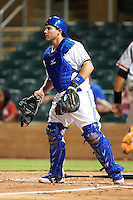 Salt River Rafters catcher Sean Ochinko #46, of the Toronto Blue Jays organization, during an Arizona Fall League game against the Scottsdale Scorpions at Salt River Fields at Talking Stick on October 11, 2012 in Scottsdale, Arizona.  Salt River defeated Scottsdale 6-5.  (Mike Janes/Four Seam Images)