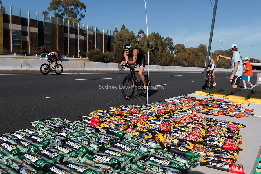 MELBOURNE, March 21, 2015 - A food tent on the bike leg of the 2015 IRONMAN Asia-Pacific Championship in Melbourne, Australia on Sunday March 21, 2015. (Photo Sydney Low / sydlow.com)