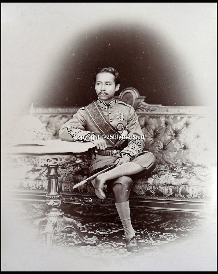 BNPS.co.uk (01202 558833)<br /> Pic: 25BlytheRoad/BNPS<br /> <br /> The 'King and I' King of Siam, Chulalongkorn, in 1893.<br /> <br /> Stunning 125 year-old pictures of Thailand which showcase the tropical paradise long before it became a tourist hot-spot have emerged.<br /> <br /> The collection of photographs from the early 1890s include images of the King's birthday celebrations in 1892, the King's palace and the Bangkok architecture.<br /> <br /> Also included in the collection are photographs of Hong Kong under British crown rule in 1895 including of British seamen, the Hong Kong cricket team and the native army.<br /> <br /> The photo album will go under the hammer on January 25 and is tipped to sell for £1,500.<br /> <br /> The owner of the album is believed to have been a member of the Royal Engineers or connected with them.<br /> <br /> The fascinating photos provide a snapshot of Thailand under the rule of King Chulalongkorn.<br /> <br /> He was the first Siamese king to have a full western education, having been taught by British governess Anna Leonowens whose memoirs were transported to the silver screen in the famous film The King and I.