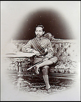 BNPS.co.uk (01202 558833)<br /> Pic: 25BlytheRoad/BNPS<br /> <br /> The 'King and I' King of Siam, Chulalongkorn, in 1893.<br /> <br /> Stunning 125 year-old pictures of Thailand which showcase the tropical paradise long before it became a tourist hot-spot have emerged.<br /> <br /> The collection of photographs from the early 1890s include images of the King's birthday celebrations in 1892, the King's palace and the Bangkok architecture.<br /> <br /> Also included in the collection are photographs of Hong Kong under British crown rule in 1895 including of British seamen, the Hong Kong cricket team and the native army.<br /> <br /> The photo album will go under the hammer on January 25 and is tipped to sell for &pound;1,500.<br /> <br /> The owner of the album is believed to have been a member of the Royal Engineers or connected with them.<br /> <br /> The fascinating photos provide a snapshot of Thailand under the rule of King Chulalongkorn.<br /> <br /> He was the first Siamese king to have a full western education, having been taught by British governess Anna Leonowens whose memoirs were transported to the silver screen in the famous film The King and I.