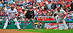 13 April 2009: Philadelphia Phillies' first baseman Ryan Howard (right) holds baserunner Cristian Guzman at first during the Washington Nationals' Home Opener at Nationals Park in Washington, DC. The Nats fell short in their 9th inning rally, losing 9-8, as the visiting Phillies handed the Nats their 7th consecutive loss of the 2009 season. Mandatory Credit: Ed Wolfstein Photo