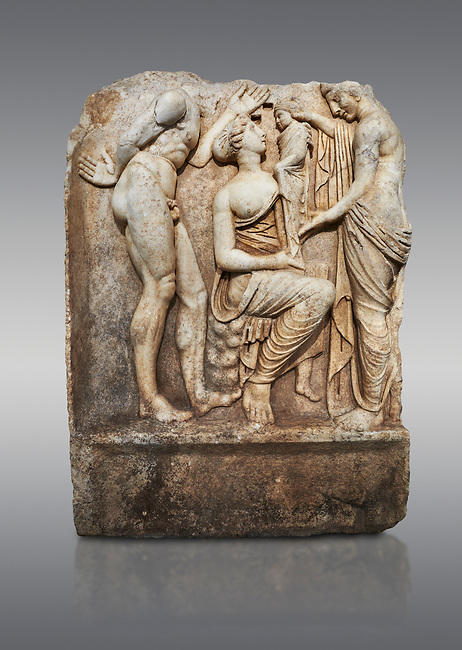 Roman Sebasteion relief sculpture, Aphrodisias of Dionysus as a baby, Aphrodisias Museum, Aphrodisias, Turkey.  <br /> <br /> Baby Dionysus is handed from one nymph to another for suckling. A bearded Silenos gestures excitedly. The scene is set at Nysa in the Meander Valley, where Zeus had his gifted child Dionysos, born to him by Semele and brought up in the wilds out of the view of Hera.
