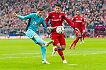 03.11.2018, Allianz Arena, Muenchen, GER, 1.FBL,  FC Bayern Muenchen vs. SC Freiburg, DFL regulations prohibit any use of photographs as image sequences and/or quasi-video, im Bild Pascal Stenzel (Freiburg #15) im kampf mit James Rodriguez (FCB #11) <br /> <br />  Foto &copy; nordphoto / Straubmeier