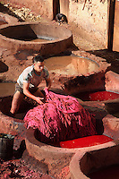 Detail of worker in vat, Chouara tannery, Fez, Morocco, pictured on February 21, 2009 in the morning. A meeting of light, colors, material, animal and human life as a young boy learns the tanning tradition. The Chouara tannery is the largest of the four ancient tanneries in the Medina of Fez where the traditional work of the tanners has remained unchanged since the 14th century. It is composed of numerous dried-earth pits where raw skins are treated, pounded, scraped and dyed. Tanners work in vats filled with various coloured liquid dyes derived from plant sources. Colours change every two weeks, poppy flower for red, mint for green, indigo for blue, chedar tree for brown and saffron for yellow. Fez, Morocco's second largest city, and one of the four imperial cities, was founded in 789 by Idris I on the banks of the River Fez. The oldest university in the world is here and the city is still the Moroccan cultural and spiritual centre. Fez has three sectors: the oldest part, the walled city of Fes-el-Bali, houses Morocco's largest medina and is a UNESCO World Heritage Site;  Fes-el-Jedid was founded in 1244 as a new capital by the Merenid dynasty, and contains the Mellah, or Jewish quarter; Ville Nouvelle was built by the French who took over most of Morocco in 1912 and transferred the capital to Rabat. Picture by Manuel Cohen.