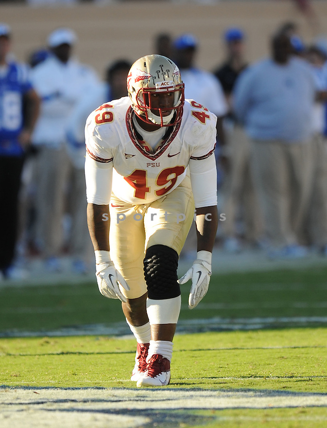 BRANDON JENKINS, of the Florida State Seminoles, in action, during FSU's game against the Duke Blue Devils on October 15, 2011 at  Wallace Wade Stadium in Durham, NC. Florida State beat Duke 41-16.
