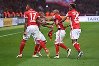 FUSSBALL  DFB POKAL FINALE  SAISON 2015/2016 in Berlin FC Bayern Muenchen - Borussia Dortmund         21.05.2016 Jerome Boateng, Douglas Costa, Arturo Vidal und Kingsley Coman (v.l., alle FC Bayern Muenchen) feiern den Pokalsieg 2016