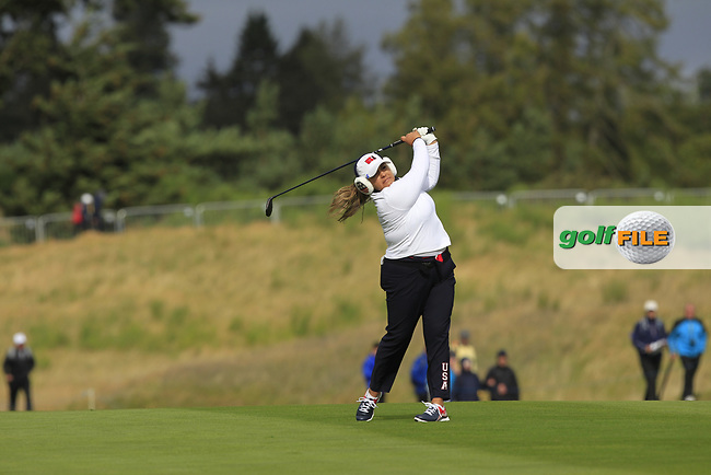 Lizette Silas of Team USA on the 2nd during Day 2 Fourball at the Solheim Cup 2019, Gleneagles Golf CLub, Auchterarder, Perthshire, Scotland. 14/09/2019.<br /> Picture Thos Caffrey / Golffile.ie<br /> <br /> All photo usage must carry mandatory copyright credit (© Golffile | Thos Caffrey)