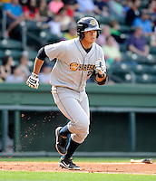 Infielder Fu-Lin Kuo (17) of the Charleston RiverDogs in a game against the Greenville Drive on Sunday, April 7, 2013, at Fluor Field at the West End in Greenville, South Carolina. Charleston won, 5-0. (Tom Priddy/Four Seam Images)