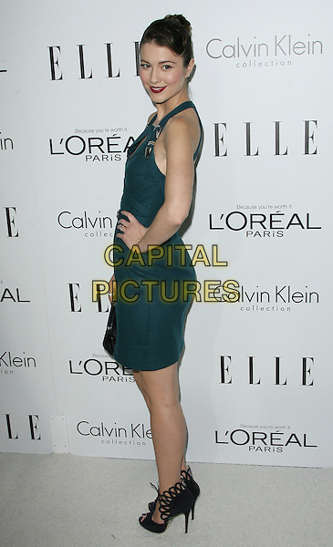Mary Elizabeth Winstead.ELLE's 19th Annual Women In Hollywood Celebration held at Four Seasons Hotel, Beverly Hills, California, USA..October 15th, 2012.full length dress blue green teal black  hand on hip side .CAP/ADM.©AdMedia/Capital Pictures.