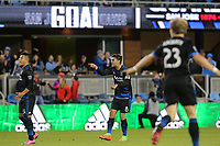 San Jose, CA - Saturday April 08, 2017: Chris Wondolowski celebrates scoring  during a Major League Soccer (MLS) match between the San Jose Earthquakes and the Seattle Sounders FC at Avaya Stadium.