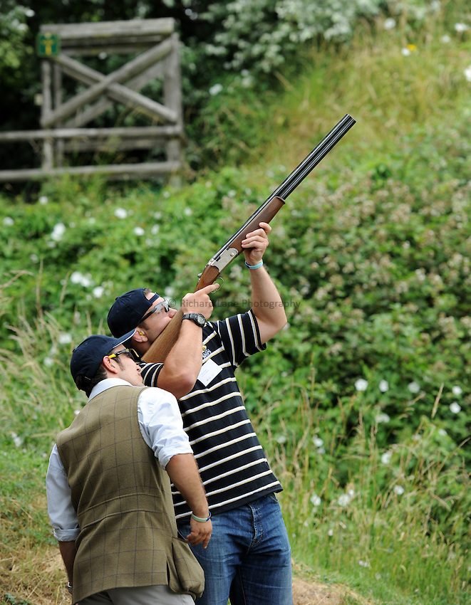 Photo: Richard Lane/Richard Lane Photography. London Wasps summer clay pidgeon shoot at E L Churchill Shooting Grounds, West Wycombe. 07/07/2010. Ben Broster.