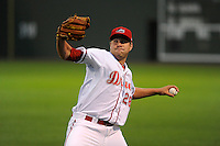 Pitcher Brian Johnson (28) of the Greenville Drive pitches in his debut against the Delmarva Shorebirds on Saturday, April 27, 2013, at Fluor Field at the West End in Greenville, South Carolina. Johnson was selected by the Boston Red Sox in the 1st Round (31st overall) in the 2012 First-Year Player Draft out of the University of Florida. Johnson is the No. 15 prospect for the Boston Red Sox, according to Baseball America. Greenville won, 5-4. (Tom Priddy/Four Seam Images)
