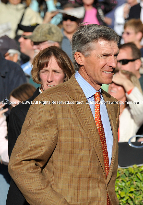 31 January 2009: Trainer Michael Matz looks anxious prior to Nicanor's first race, a maiden race at Gulfstream Park in Hallandale, Florida.