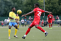 Shadrach Ogie of Leyton Orient and Dejuane Taylor of Harlow Town during Harlow Town vs Leyton Orient, Friendly Match Football at The Harlow Arena on 6th July 2019