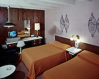 Airport Motor Inn, Norfolk, VA.<br /> 1950's Retro Motel Room with a Black &amp; White TV.