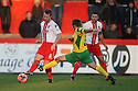 Luke Jones of Stevenage beats Sean Geddes of Stourbridge<br />  - Stevenage v Stourbridge - FA Cup Round 2 - Lamex Stadium, Stevenage - 7th December, 2013<br />  © Kevin Coleman 2013