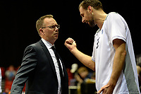 GRONINGEN - Basketbal, Donar - Den Helder Suns, Martiniplaza, Dutch Basketbal League,  seizoen 2018-2019, 27-11-2018,  Donar speler Drago Pasalic met Donar coach Erik Braal