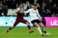29th January 2020; London Stadium, London, England; English Premier League Football, West Ham United versus Liverpool; Pablo Fornals of West Ham United challenges Jordan Henderson of Liverpool
