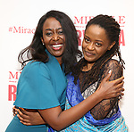 """Immaculee ILibagiza and Malaika Uwamahoro during a reception for  """"Miracle in Rwanda"""" honoring International Day of Reflection on the 1994 Genocide against the Tutsi in Rwanda at the Lion Theatre on Theater Row on April 7, 2019 in New York City."""
